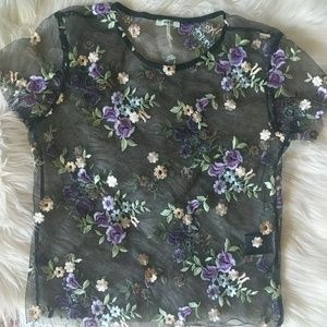 Kimchi Blue Sheer Embroidered Floral Top